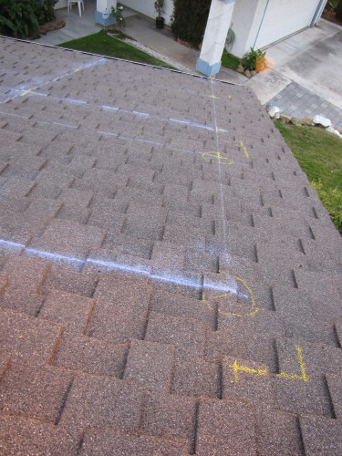 Closeup of roof markings