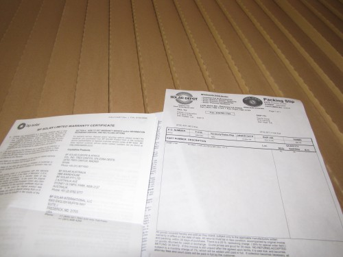 Packing Slip from Solar Depot (Who delivered the panels)